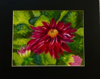 Watercolor print of dahlia matted and ready for framing