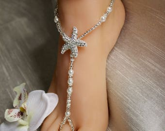 Beach Barefoot Sandals Crystal Rhinestone Starfish Barefoot Sandal Foot Jewelry Wedding Starfish Jewelry Bridesmaid Gift
