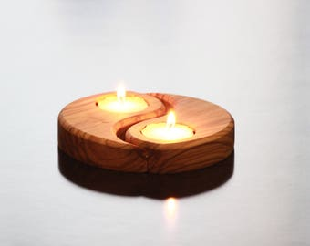 Romantic Olive Wood Tea Light Candle Holder - Tear Shaped