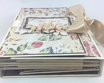 Vintage Wedding Photo Album, Scrapbook or Guestbook, Handmade Anniversary Book