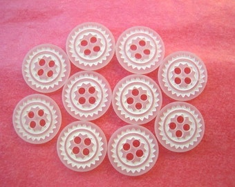 20 Buttons, white flowers, vintage, for button jewelry, 11.5mm
