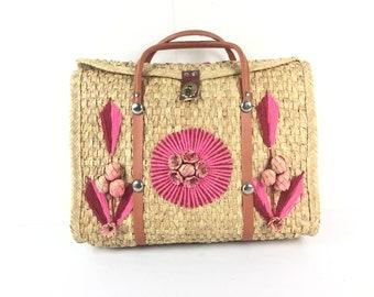 Straw purse, straw bag, straw tote, beach bag, Vintage purse, large straw bag, straw tote bag, Boho purse, boho bag, bohemian bag, pink