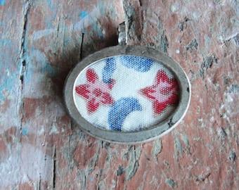 Framed  textile pendant