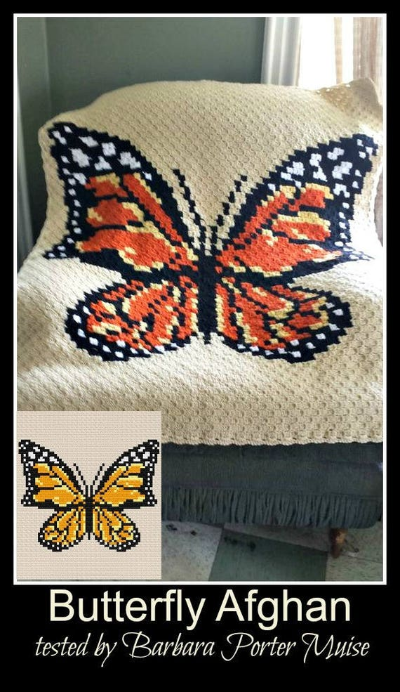 Butterfly Afghan, 5 Color Butterfly, Butterfly C2C Graph, Crochet ...