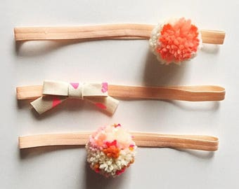 pom pom + fabric bow headband