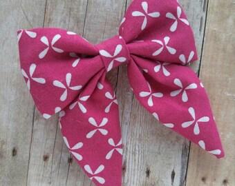 SALE! 30% OFF**Sailor Hair bow, Toddler hair bow, Baby hair bow, Teen hair bow, Girl Hair bow- pink and white