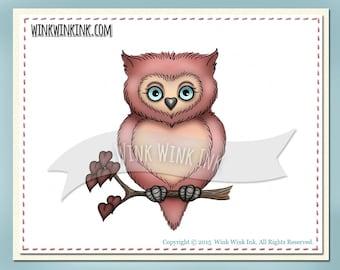 Digital stamp - Val - owl - hearts love Valentine digi image