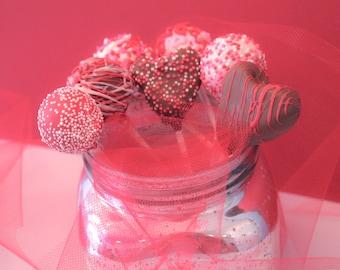 Chocolate Covered Valentine Cake Pops – Assorted Flavors – 1 Dozen