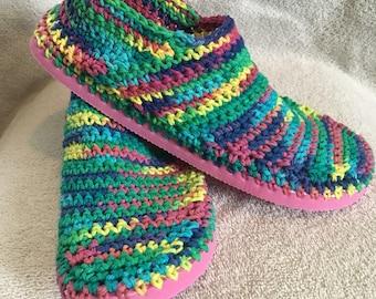 Handmade Women's Crochet Cotton Slip On Shoes - RAINBOW Color