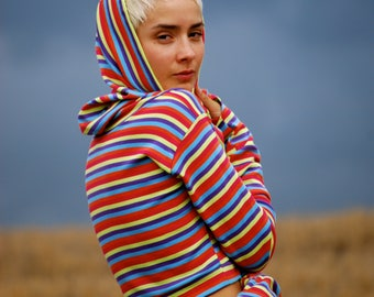 Long Sleeve Cropped Cowl Hoodie Top with Thumbholes -Multicolor Stripe Organic Cotton Rib Knit