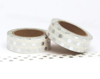 Washi Tape Silver Metallic Foil Polka Dot Spots