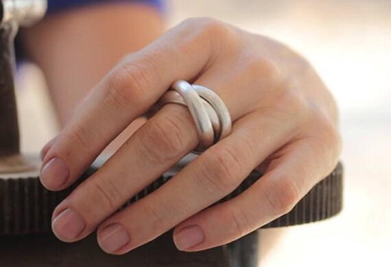 Handgemachte 3 verflochten Ringe in Silber Draht mit