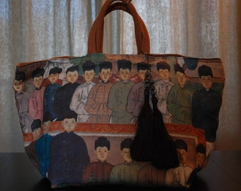 Weekend bag, handbag, publishers of fabrics, the forbidden city PIÈCE UNIQUE pattern, REVERSIBLE
