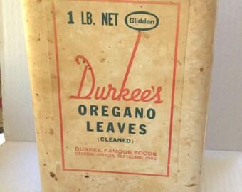 Durkee's Oregano Leaves *Super Rare* 1lb Paper-coated tin.