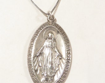 Large Sterling Silver Mary Pray For Us Religious Pendant