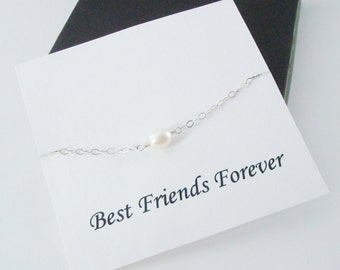 Solitaire White Pearl Silver Bracelet ~Personalized Jewelry Gift Card for Best Friend, Sister, Cousin, Step Sister, Bridal Party, Graduation