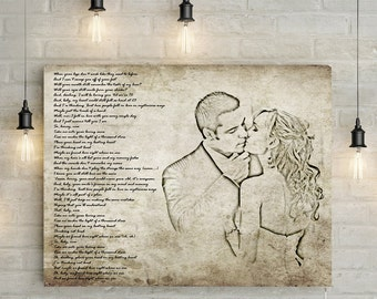 Custom Couples Portrait/ Pencil Drawing Effect with Personalized Song/ Poem/ Quote - anniversary gift Canvas Print or Printable