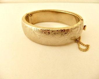 Bangle Hinge Bracelet Gold Tone Brocade