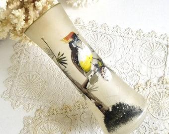 vintage glass bird vase painted bird vase
