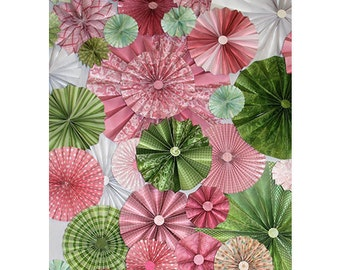 40pc pink and green pinwheels Paper Fans Wedding Pinwheel Backdrop Decor Paper Decorations, You choose your colors