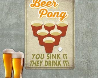 Beer Pong You Sink They Drink Wall Decal - #60699
