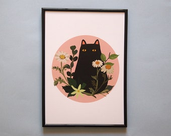 A4 Black Cat with Foliage Print - Black Cat, cat lover gift, art print, poster, botanical print, wall decor, illustration print