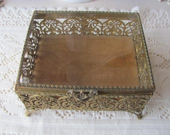 Vintage Ormolu Jewelry Box, Footed Jewelry Casket