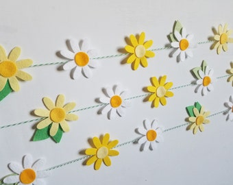 Yellow and White Flowers Garland Vertically or Horizontally Hanging