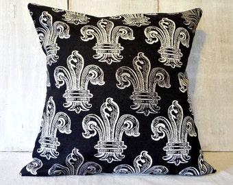 Black Fleur De Lis Pillow Cover - French Cottage Decor - 14x14, 16x16, 18x18, 16x20