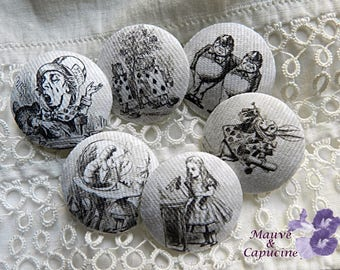 6 buttons in gray print Alice in Wonderland, 1.25 in /  32 mm