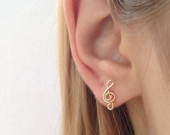 Music Note Earrings, Treble Clef Earrings, Gold Stud Earrings, Bithday Gift, Graduation Gift, Music Note Jewelry, Minimalist Earrings
