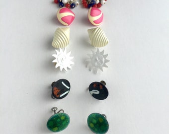 Group of 9 Vintage Clip On and Screw Back Earrings