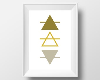 TRIANGLE PRINT, Grey and Yellow Geometric, Geometric Wall Art, Grey and Mustard, Grey and Yellow Triangles, Poster Set, Digital Download