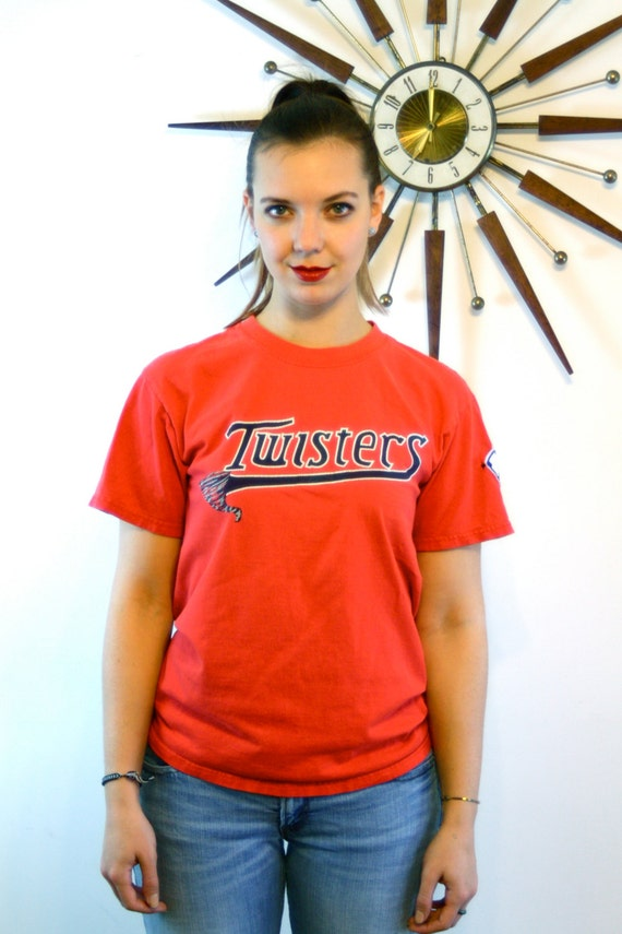 "Vintage Sports tee, ""Twisters"" T-shirt , Baseball T- Shirt, 80s distressed tee, AAU USA patch, Red Crew Neck, Old t-shirt,Team tee,Number 15"