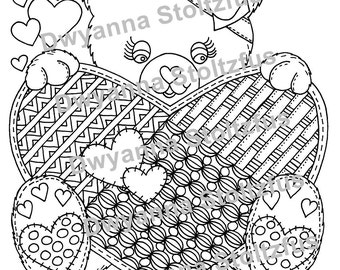 Teddy Bear with Hearts Coloring Page JPG