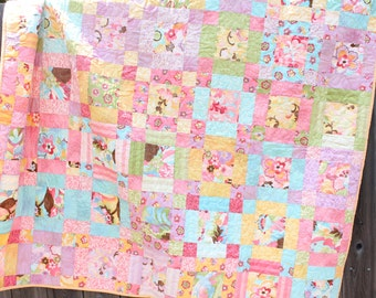 Baby Quilt Toddler Child Quilt Handmade Patchwork Floral Moda Fabric Crib Quilt, 58 x 50, lap quilt throw, handmade quilt, baby quilt