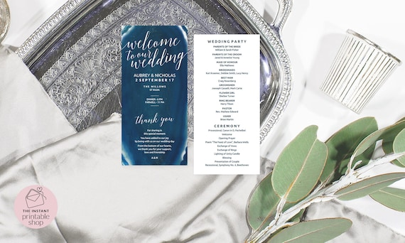 Geode Wedding Program Template Navy Wedding Program Agate