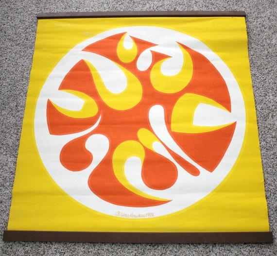Lars Hawkes 1972 Silkscreen Wall Hanging Art Print, Abstract Orange Yellow White Circle, Mod Pop Art