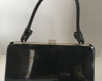 1960's Vintage Black Patent Leather Kelly Style Bag by Normandie Made in Canada Leather Lining