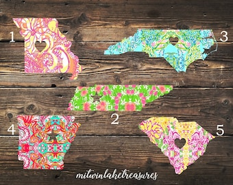 Lilly Inspired City & State Decal / Missouri, Tennessee, North Carolina, Arkansas, South Carolina / Custom Size, Color / Home State Decor