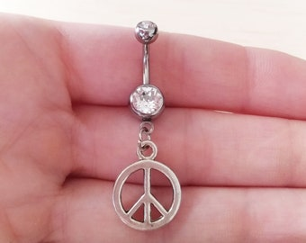 Peace belly button ring body jewelry piercing