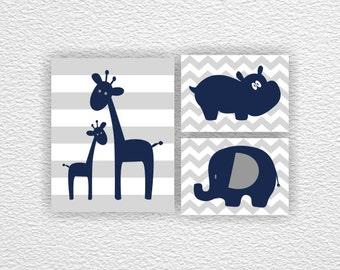 INSTANT DOWNLOAD Jungle Animals Navy and Gray Baby Boy Nursery Printable Wall Art Decor Giraffe Hippo Elephant Set of 3, 1-8x10 and 2-5x7