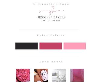 Premade logo, blog logo kit, blog branding kit, pink logo design, calligraphy logo, watermark, photography logo, branding kit design