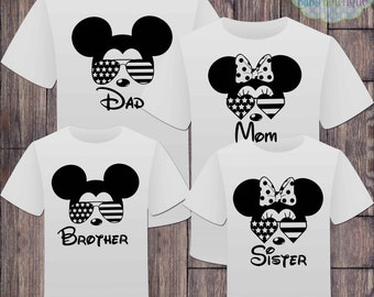 Matching Disney Family American Flag Tshirts - Sunglasses Mickey Minnie  - Disney Inspired - Fourth of July - American Flag
