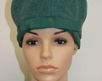 Vintage 1950's 60's Green Wool Tall Pill Box Hat by Jack Jill