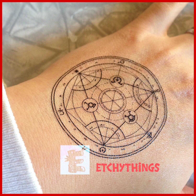 Transmutation Circle Tattoo: FMA Transmutation Circle Temporary Tattoo Human Transmutation