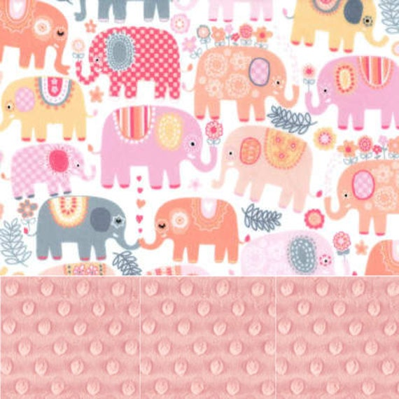 Elephant Minky Baby Blanket Girl, Pink Gray Personalized Blanket, Animal Baby Blanket, Receiving Blanket, Name Baby Blanket Baby shower gift