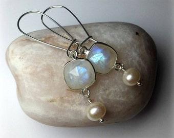 Rainbow Moonstone earrings Silver Bridal earrings Moonstone jewelry Pearl drop earrings June Birthstone earrings Mothers Day Gift For Women