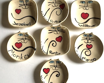 custom add name on for Cat Pottery: ceramic feline decor whimsical art collectible memorial dish