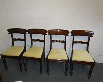 A set of 4 Antique Mahogany Georgian Dining Chairs / Upcycled / Reupholstered / Dining Chairs / Set of Four / Georgian Furniture / Antique